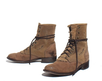 10 M | Women's LAREDO Feather Stich Lacers Two Tone Brown Suede & Nubuck Lace Up Ropers