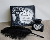 Personalized guest book, Gothic Wedding, Fall Wedding Guest Book, Halloween Party Book, Black and white, Tree of life, Halloween Wedding