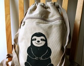 Sloth Backpack Canvas Laptop Bag Gym Bag