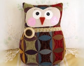 Large OWL Pillow Owl Doll 8.75 inches Soft Sculpture Doll, Chenille Fabric, Primitive Handmade CharlotteStyle Decorative Folk Art
