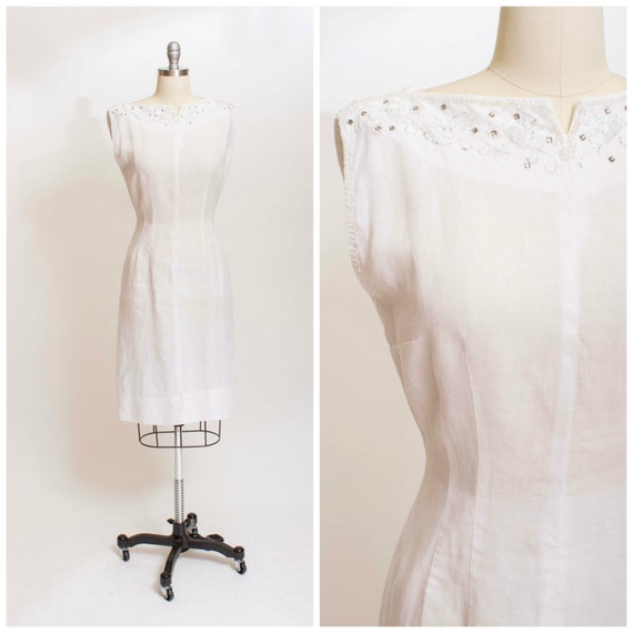 Vintage 1950s dress becharmed white linen beaded cocktail for White linen cocktail recipe
