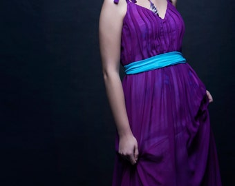 S. Size small womens. Purple Princess Gown in silk chiffon over a rayon lining. Elegant evening gown or prom dress.