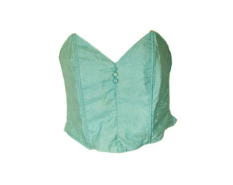 Vintage Turquoise Strapless Bustier. U.K Dress Size 14 D Cup.