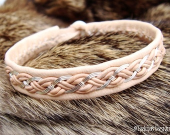 Norse Pagan Viking Bracelet Unisex DRAUPNIR Sterling Silver wire Braid on Natural Reindeer Leather with carved Antler button