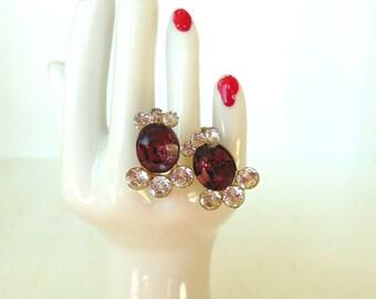Vintage Purple Rhinestone Screw Back Earrings Gold 50's (item 233)