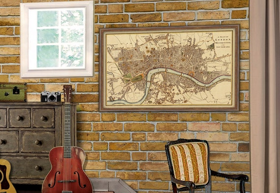 London wall map - Old map of London -  Large poster map