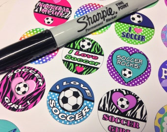 Girls Soccer Printable 1-Inch Circles / Bottlecap Images / Soccer Girl / I Love Soccer / Soccer Rocks / Soccer Ball / Instant Download