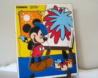 Vintage Puzzle -  Mickey Mouse - Playskool - Wooden Tray - 1980's - Retro Toy