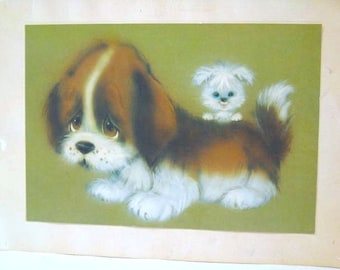 "Vintage Card - Large - Cute Dog & Puppy  - 12"" x 16"" -  Nursery Wall Art - 1970's - Greeting Card"