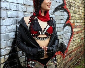 Tribal Fusion Bra with Kuchi Coins Dark Fusion Tribal Belly Dance Bra Top Gypsy Top with Coins Gothic Belly Dance Costume Black Red Silver