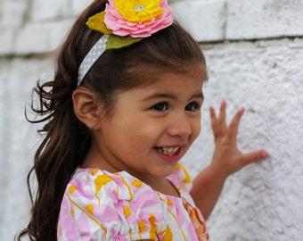 Felt Flower Headband - Pink Yellow Flower Headband - Baby Infant Toddler Girls - Floral Headband - Pink Gray Yellow - Polka Dot Headband