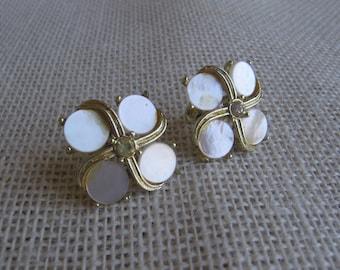 Shell and Gold Earrings Screw Back Earrings Vintage Shell Rhinestone Gold Toned Jewelry Wedding Earrings MyVintageTable