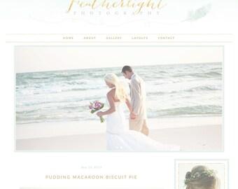 Responsive Wordpress Theme Blog Design Premade Template Mint Feather & Gold Glitter - Pretty Feminine Pretty Beautiful Vintage Wedding