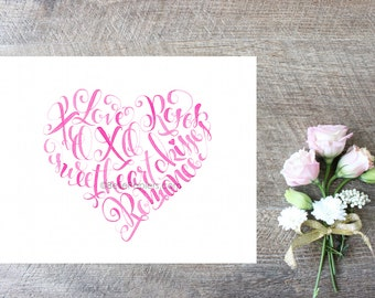 Calligraphy Heart Valentine's Day Calligraphy Heart Pink Valentine Words Kisses XOXO Romance Sweetheart Love Wall Art Calligraphy