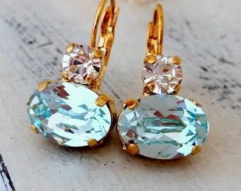 Ice blue crystal drop earrings, light aquamarine Swarovski earring, Dangle earrings,blue Bridal earring, blue bridesmaids gifts