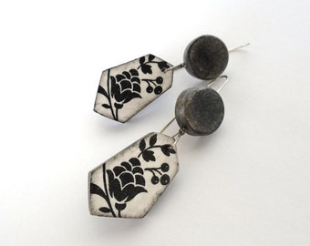 Black and white clay floral earrings decoupage polygonal geometric modern contemporary rustic flower sterling silver long earrings romantic