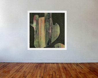 "Large ABSTRACT Giclee print of Green, Pink, Orange, Grey painting by Leah Rainey ""Lima"""