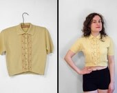 Reserved for B.Cropped Yellow Blouse 1950s Stuart Lloyd Polka Dot Rhinestone S M