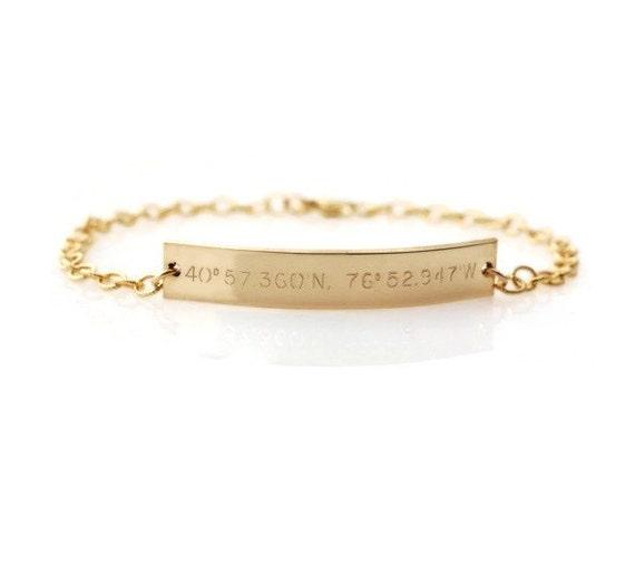 compass coordinate id bracelet custom engraved bar nameplate