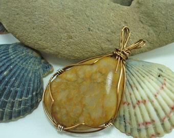 Olive Jasper Cream Quartz Chalcedony Caramel Green Tan Beach Rock Stone, Wire-Wrapped Jasp-Agate pendant