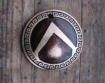 Dog Tag // Etched Dog Tag // Pet Accessories // Pet Id Tag // Custom ID Tag // Domed Brass Greek Shield - Little Warrior Pet Tag
