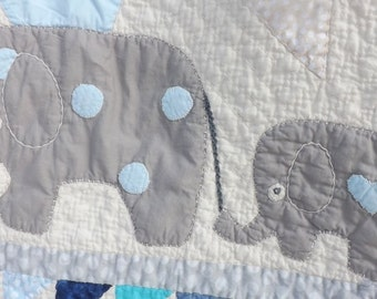 Elephant baby quilt cheerful candy blue gray aqua banner dots flags circus nursery decor parade hand quilted hand appliqued hand embroidery