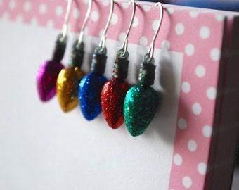 Light Bulb Earrings -- Glittery Color Light Bulb Earrings, Christmas Light Earrings, Pick your favorite color!