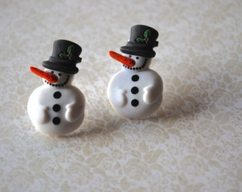 Snowman Earrings -- Snowman Studs, Black & White Snowmen Earrings