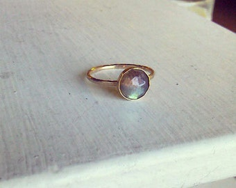8mm Rose Cut Labradorite Gold Stacking Ring - custom made to size