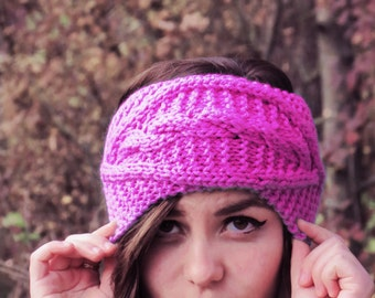 Pink Cable Knitted Headband Ear Warmer Cable Knit Fashion Accessory Pink Turban Style Exclusive Cozy Ear warmer Winter Fashion Accessory