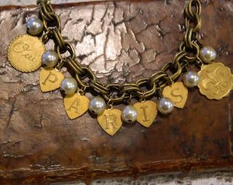 PARIS AND PERLES vintage repurposed assemblage handmade jewelry bracelet brass letter charm pearls rhinestone souvenir  atelier paris etsy