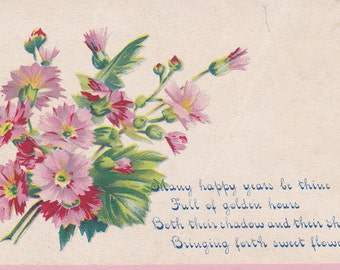 "Ca. 1908 ""Pink Flowers"" Birthday Greeting Postcard - 1908"