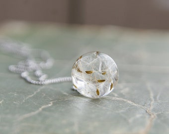 Dandelion Wish Necklace - Real Dandelion seeds resin sphere - 925 Sterling silver chain - hope symbol gift - Fairy clear resin pendant