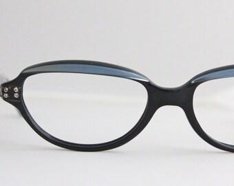 Vintage 50's French Black Rhinestone Cat Eye Eyeglasses Readers