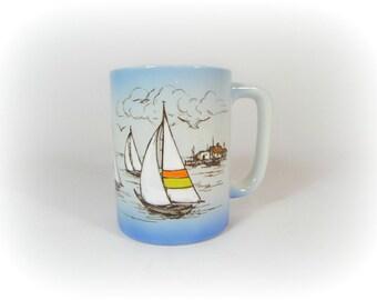 Nautical Coffee Mug Coffee Cup Beach House Sailboat Seagulls Lighthouse Ocean Vintage Retro Ceramic Mug