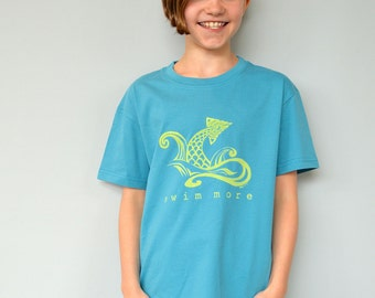 "Swim T-shirt, Organic T shirt  Blue Tshirt Children's Clothing Kids Clothes for Toddler & Youth, Organic Clothing ""Swim More"" by Uni-T"