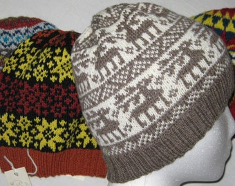 Fair Isle Knitted Hats, Bright and Warm Set