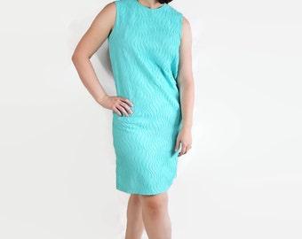 60s Dress, Mod, Mad Men, Shift, Plus Size, Blue, Chiffon