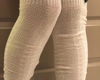 Cream Tall Socks : Green Wooden Heart Button & Red Stitching - Cream Over the Knee Knit Socks