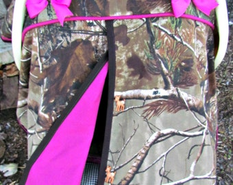 Camo Car Seat Canopy in Realtree Xtra Camouflage and Magenta /Baby Carseat Canopy / Infant Carseat Canopy Cover / My Baby Blind