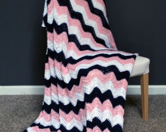 Chevron Afghan Throw Blanket Crochet - Dark Blue, Light Pink and White Striped Ripple Zig Zag - Ready To Ship