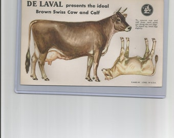 1950 DeLaval Milkers Ideal Brown Swiss Color Litho Trade Card, Unpunched PRICE REDUCED