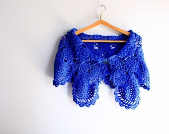 Shawlette  in sapphire blue, crochet wrap, Arethusa, vegan friendly, ready to ship