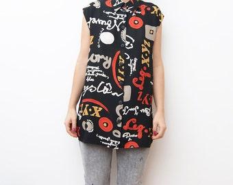 Vintage sleeveless black button up women XYZ shirt