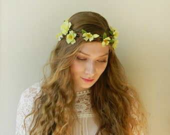 SALE Spring Green Double Flower Crown 'Mayfair' - Light Green Woodland Bridal Wreath - Rustic Weddings