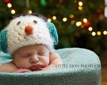 Winter Snowman with Ear Muffs Crochet Baby Hat Beanie Made to Order All Sizes (Newborn - Child)