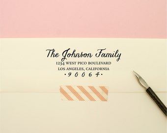 Custom Address Stamp - Flowing Cursive Family Self Inking Return Address Stamp