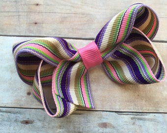 25% off SALE Adorable striped hair bow - striped bow, boutique bow