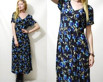 Long FLORAL Dress 90s Vintage Maxi Button-Down Black Blue Grunge Bohemian Boho 1990s vtg S M