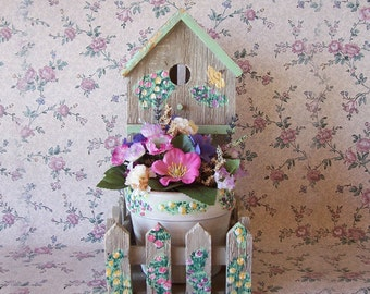 Rustic Bird House with hand painted floral accents and small flower arrangement